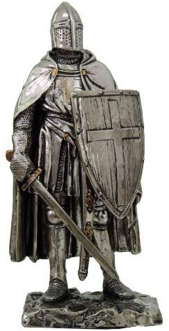 "Crusader Knight Statue Silver Finishing Cold Cast Resin Statue 7"" (8711)"
