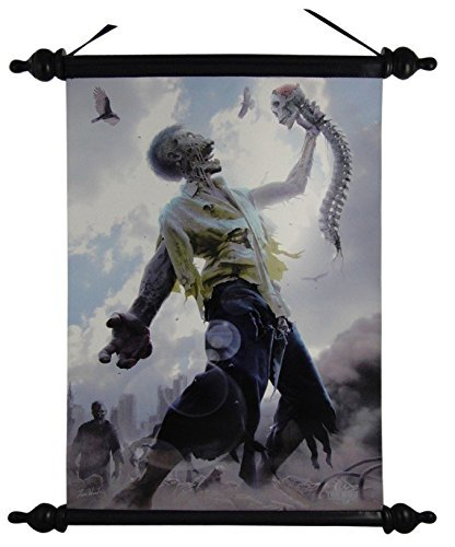 12 Inch Zombie Scraps Printed Silhouette Hanging Art Wall Scroll