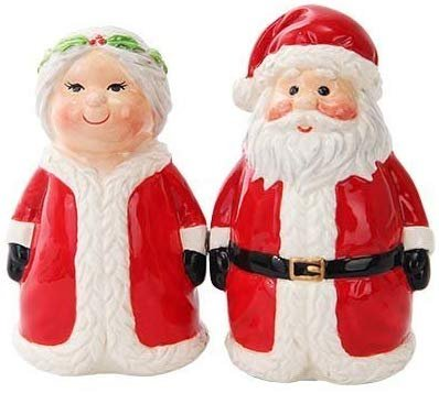 Attractives Christmas Mr Mrs Santa North Pole Winter Ceramic Magnetic Salt Pepper Shakers
