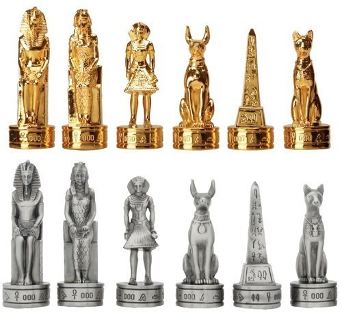 3 Inch Pewter Egyptian Chess Set, Pewter and Gold Colored Teams