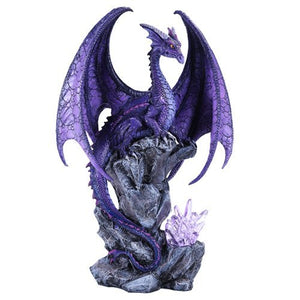"Pacific Giftware Large Winged Purple Dragon with LED Light Purple Crystal Rock 18"" h"