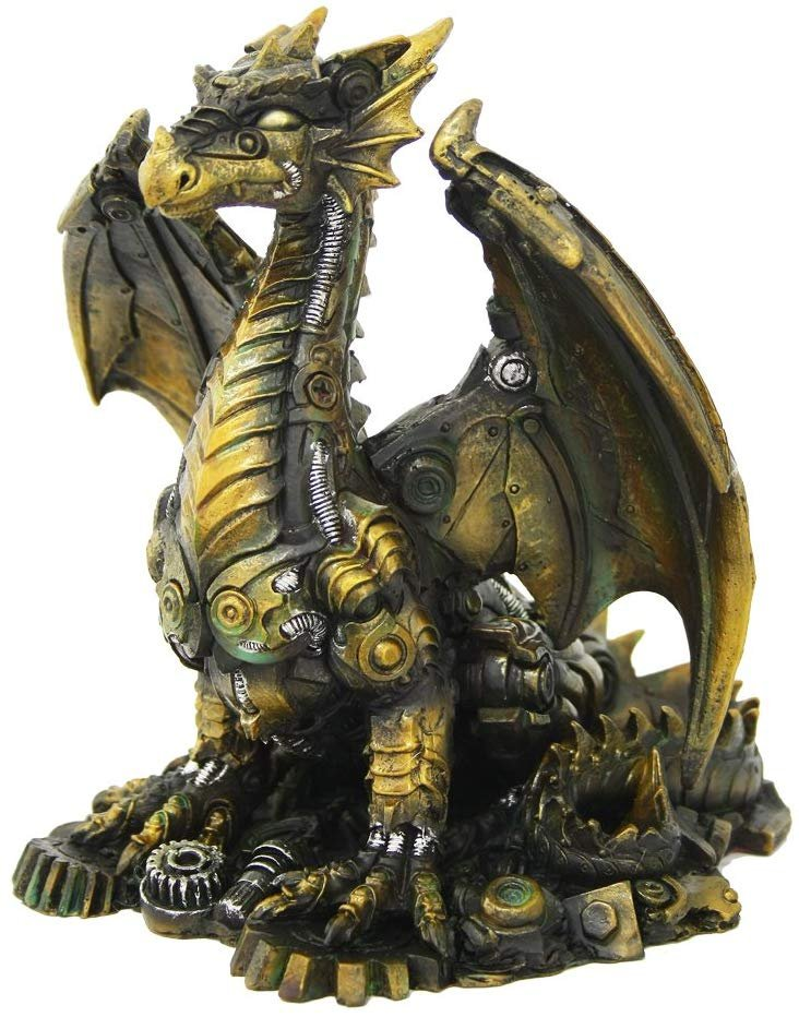 Pacific Giftware Steampunk Inspired Mechanical Dragon Tabletop Decorative Figurine Statue 6.25 Inch Tall