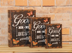 Pacific Giftware Good Health is the Best Health Decorative Book Boxes Diversion Safe Set of 3