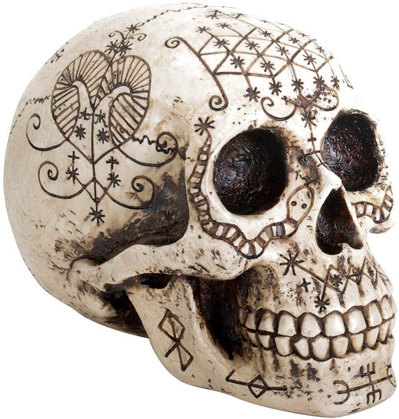 YTC Summit International Human Skull Etched with Voodoo Tattoo Symbols Figurine Natural Bone Finish New