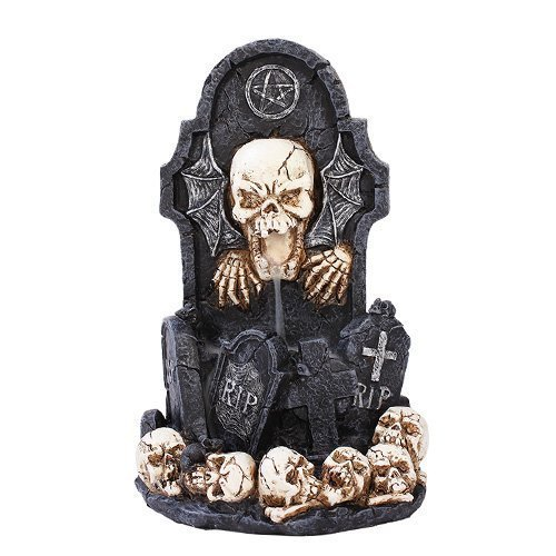 Pacific Trading Giftware Skull Tomb Backflow Incense Holder Burner Figurine Made of Polyresin