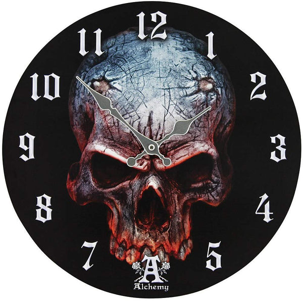Alchemy Birth of a Demon Clock Skull Horn Holes Devil Gothic Unique Wall Clock
