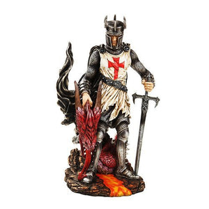PTC 12.5 Inch Warrior Knight with Sword and Dragon Statue Figurine