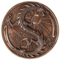 Double Dragon Alchemy Wall Plaque in Bronze Patina