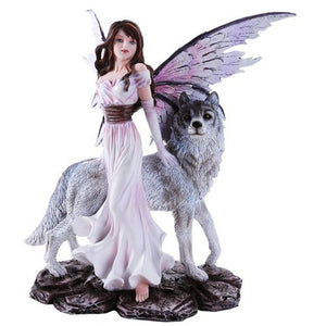 Pacific Giftware Purple Winged Fairy with Lone Wolf 10.5 Inch Collectible Figurine