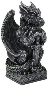 Pacific Giftware Majestic Royal Palace Stone Guardian Dragon with Sword
