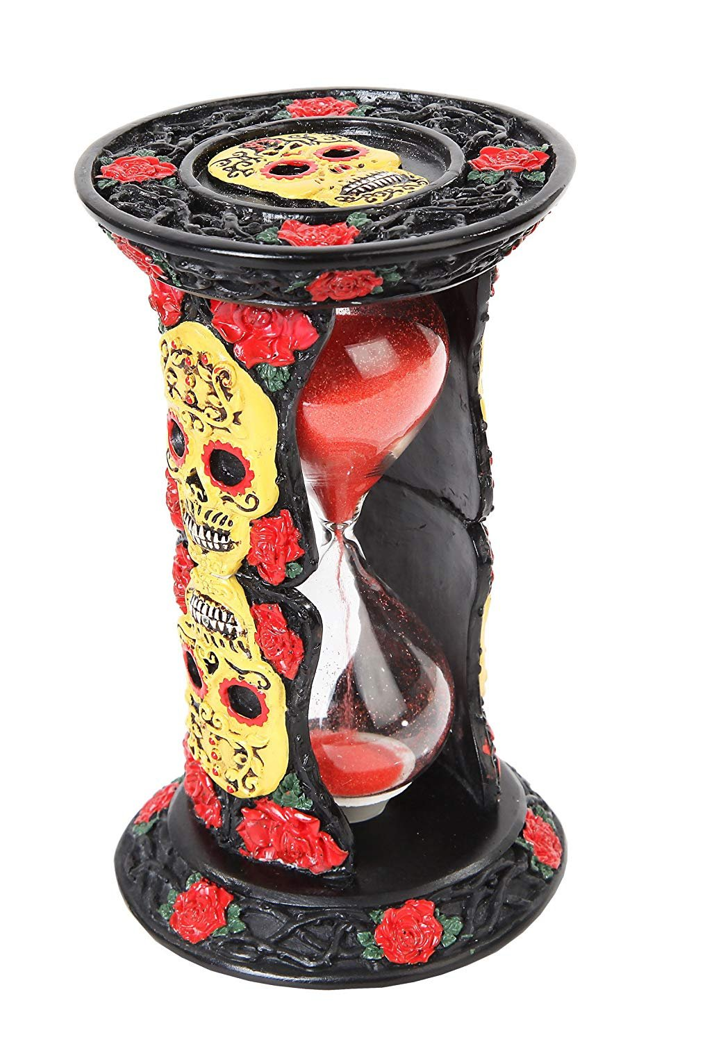 PTC 6.13 Inch Day of The Dead Skulls Sand Timer Hourglass Statue Figurine