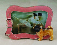Enamel Pug with Bejeweled Leash Picture Frame Statue Figurine