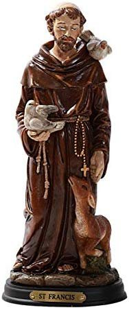 Pacific Giftware Saint Francis Statue Wood Base with Brass Name Plate