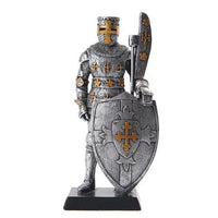 PTC 5 Inch Armored Medieval Knight with Large Shield Statue Figurine