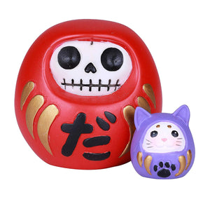 SUMMIT COLLECTION Furrybones Daruma Signature Skeleton in Red Japanese Good Luck Charm Doll Costume with Blue Miniature Mouse Daruma Buddy