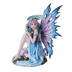 Spring Flower Fairy and Dragon Mystical Statue Figurine Mushroom Meadow Princess