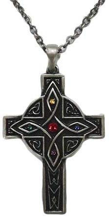CELTIC DESIGN CROSS NECKLACE PENDANT PEWTER ALLOY