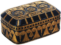 Egyptian Themed Winged Scarab Amulet Lotus Black and Gold Jewelry Box