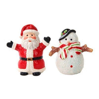 Attractives Christmas Santa & Snowman North Pole Winter Ceramic Magnetic Salt Pepper Shakers