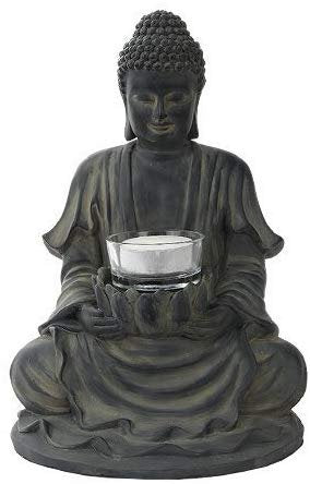 PTC 8.5 Inch Resin Meditating Buddha with Lotus Candle Holder Figurine
