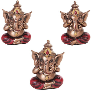COLORFUL SEE HEAR SPEAK NO EVIL GANESHA EASTERN ENLIGHTENMENT LORD SCULPTURE