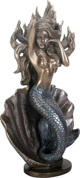 """Mermaid On Shell"" Bronze Figurine Statue"