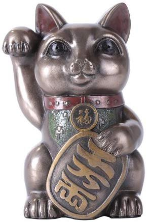 "Maneki Neko Cat 5"" Tall Collectible Resin Figurine"