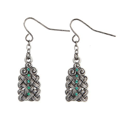 Celtic Knotwork with Green Crystal Pewter Earrings Jewelry- Mystica Collection