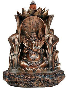 Pacific Giftware Ganesha Siting On Throne Backflow Incense Burner Home Decor