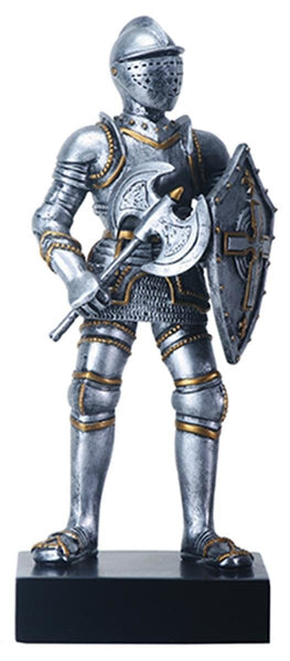 "9"" Silver Color ""At Ready"" Gothic Knight with Axe and Shield Figurine"