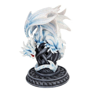 PTC 9 Inch White Dragon Growling on a Tribal Structure Statue Figurine