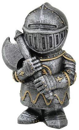 Small Armored Medieval Knight with Axe Statue Figurine