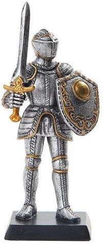 5 Inch Medieval Knight with Classic Shield and Sword Statue Figurine