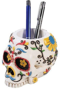Pacific Trading Giftware Day of The Dead Skull Pen Holder Figurine Height 3.5'' Made of Polyresin