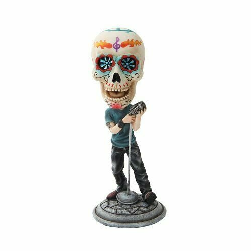 Day of The Dead Bobblehead Lead Singer Painted Figurine