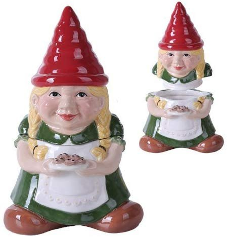 10 Inch Gnome Sweet Lady Gnome Cookie Eating Ceramic Jar Figurine (Girl)