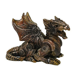 Small Steampunk Dragon Collectible Statue Made of Polyresin