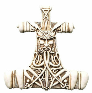 Viking God Thor Bone Hammer Mjolnir Thunder Wall Plaque Home Decor Statue Figuri