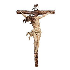 "Pacific Giftware 20"" H Wall Crucifix Jesus Resin Statue Home Decor"