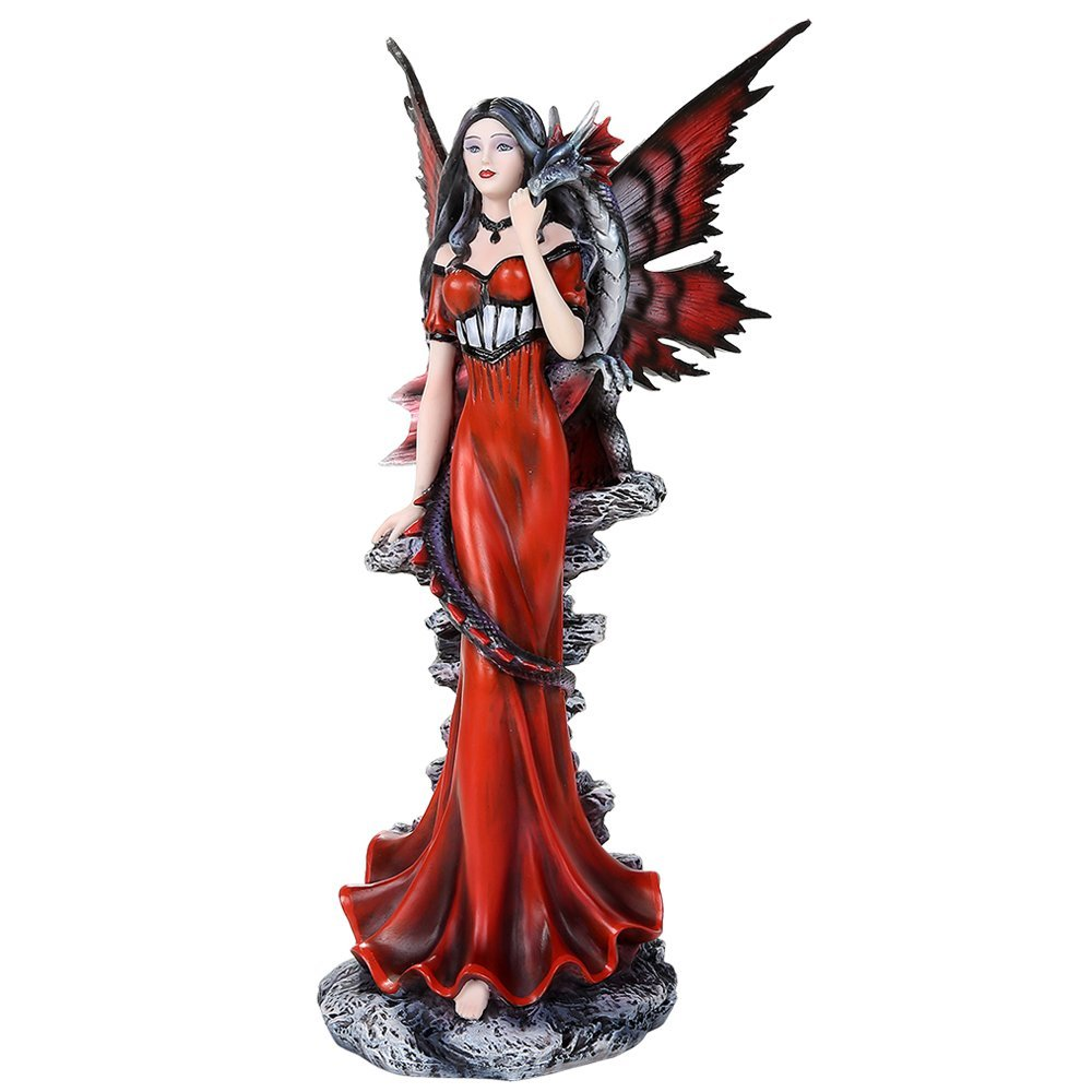 Pacific Giftware Auspicious Red Dragon Fairy With Fantasy Dragon Collectible Figurine 12.25 Inch Tall