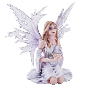 Pacific Giftware 4.5 Inch Fairyland Legends Winter Purple Fairy Winged Fairy with Flowers Statue Figurine (4.5H)