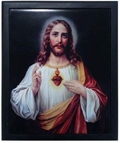 PTC 11 Inch Sacred Heart of Jesus Orthodox Religious Framed Tile Wall Art