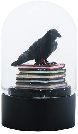 YTC Quoth The Black Raven Standing on a Stack of Books Water Globe