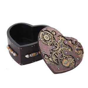 PTC Steampunk Mechanical Heart Shaped Box with Lid Statue Figurine