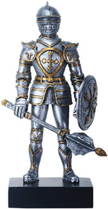 9 Inch Silver and Gold Color Gothic Knight with Mace Figurine Display
