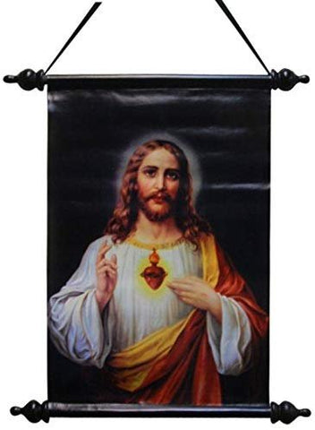 18 Inch Sacred Heart of Jesus Religious Hanging Wall Art Scroll