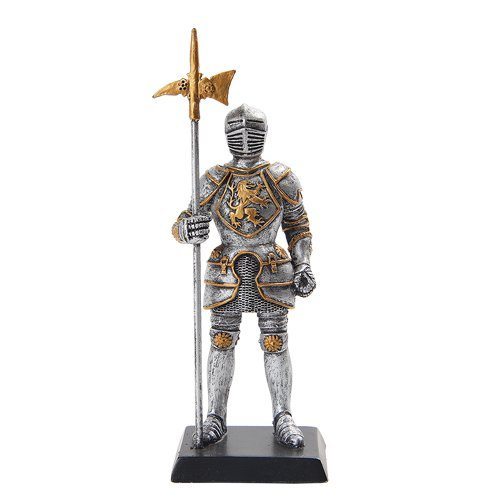 "Medieval Knight 5"" Statue Silver Gold Finishing Cold Cast Resin Statue"