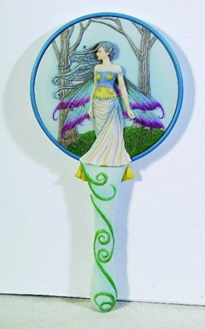 """10 Inch Cold Cast Resin /""""Visitor/"""" Fairy Hand Held Mirror White"""