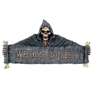 Pacific Giftware Gothic Skeleton Grim Reaper Welcome to Hell Wall Decorative Plaque 18L Inches