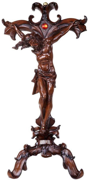 Free Standing Wood Finish Crucifix Christian Art Cross 24 inch Tall